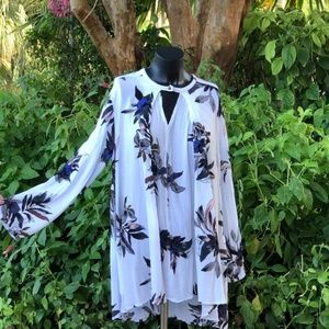 Free People White Floral Boho Tunic/Dress